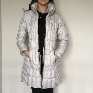 White Long Puffer Jacket Guess